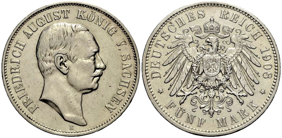 World Coins - SACHSEN 5 Mark 1908
