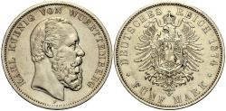 World Coins - WÜRTTEMBERG 5 Mark 1874