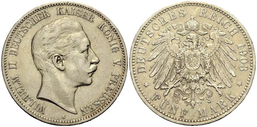 World Coins - PREUSSEN 5 Mark 1903