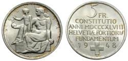 World Coins - SWITZERLAND 5 Fr. 1948 CONSTITUTION
