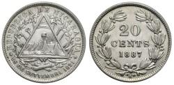 World Coins - NICARAGUA 20 C. 1887 H