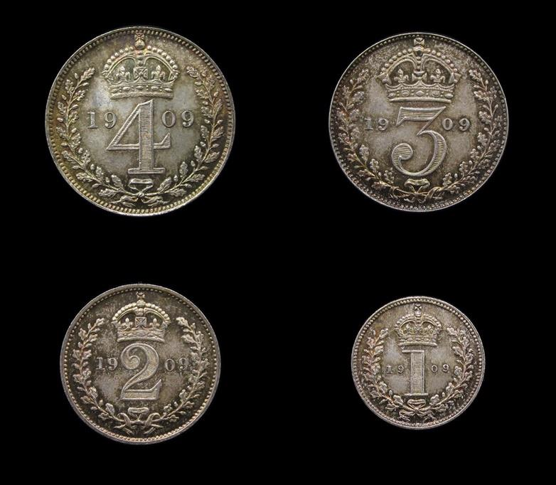 World Coins - Great Britain - Edward VII - 1909 Maundy Set - 4d, 3d, 2d, 1d - UNC