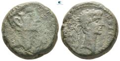 Ancient Coins - Macedon. Thessalonica. Augustus, with Divus Julius Caesar 27 BC-AD 14.  Bronze Æ
