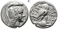 Ancient Coins - Attica. Athens. Mikion, Euryklei-, Sokrates, magistrates 124-123 BC.  Tetradrachm AR. New Style coinage.