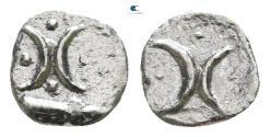 Ancient Coins - Calabria. Tarentum circa 280-228 BC.  Hemiobol AR