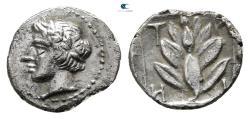 Ancient Coins - Macedon. Chalkidian League. Olynthos circa 425-390 BC. Trihemiobol AR.