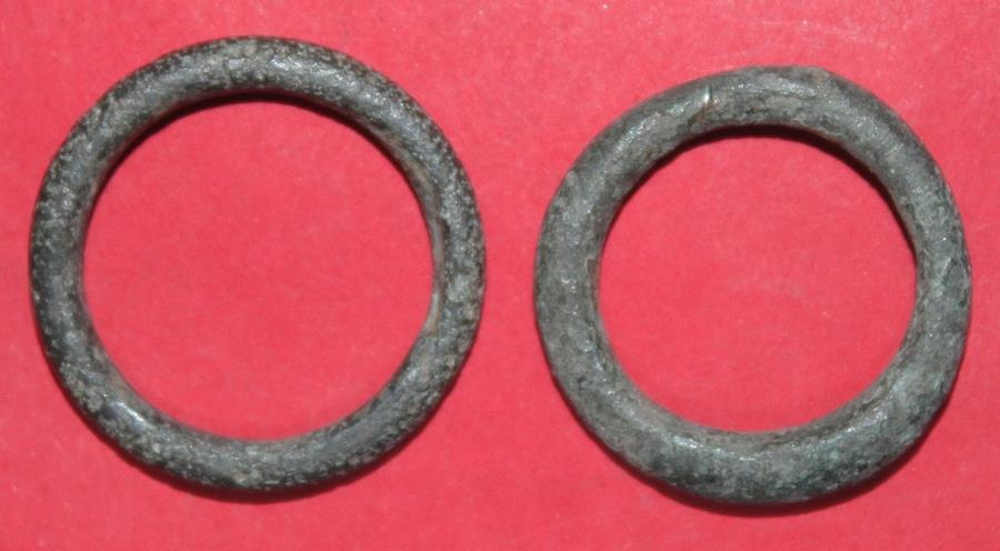 Ancient Coins - Two ancient Celtic bronze ring proto money - 600-400 BC