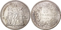 France, Hercule, 10 Francs, 1965, Paris, MS(63), Silver, KM:932, Gadoury:813