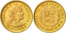 World Coins - Coin, Peru, 1/5 Libra, Pound, 1965, Lima, MS(63), Gold, KM:210