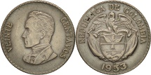 World Coins - Colombia, 20 Centavos, 1953, EF(40-45), Silver, KM:213