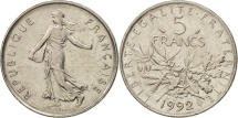 France, Semeuse, 5 Francs, 1992, Paris, AU(50-53), Copper-Nickel,KM 926a.1