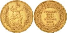 Tunisia, Ali Bey, 20 Francs, 1899, Paris, Gold, KM:227