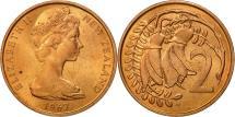 World Coins - New Zealand, Elizabeth II, 2 Cents, 1967, MS(63), Bronze, KM:32.1