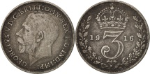 Great Britain, George V, 3 Pence, 1916, EF(40-45), Silver, KM:813