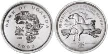 Uganda, 5000 Shillings, 1993, MS(65-70), Silver, KM:36
