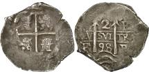 World Coins - Bolivia, Charles II, 2 Réales, 1698, Potosi, EF(40-45), Silver, KM:24