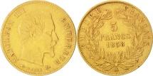 France, 5 Francs, 1858, Paris, VF(30-35), Gold, KM:787.1, Gadoury:1001