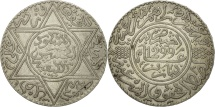 Morocco, Moulay al-Hasan I, 10 Dirhams, 1881, Paris, EF(40-45), Silver, KM:8
