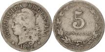 World Coins - Argentina, 5 Centavos, 1897, VF(20-25), Copper-nickel, KM:34