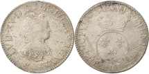 France, Louis XV, Écu Vertugadin, 1716, Paris, VF(30-35), Silver, KM 414.1