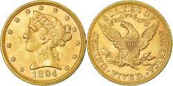 Us Coins - Coin, United States, Coronet Head, $5, Half Eagle, 1894, Philadelphia