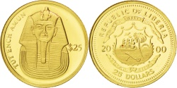 World Coins - Liberia, 25 Dollars, 2000, MS(65-70), Gold, 0.75