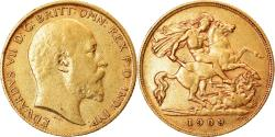 World Coins - Coin, Great Britain, Edward VII, 1/2 Sovereign, 1909, , Gold, KM:804