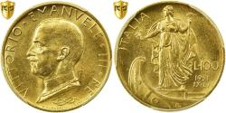 World Coins - Coin, Italy, Vittorio Emanuele III, 100 Lire, 1931, Rome, PCGS, MS63, Gold