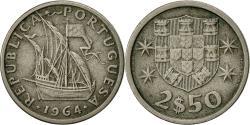 World Coins - Portugal, 2-1/2 Escudos, 1964, , Copper-nickel, KM:590