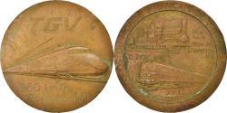 World Coins - France, Medal, TGV, Records du Monde Français de Vitesse, 1981, C. Gondard