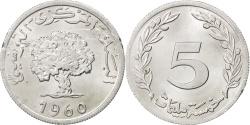 World Coins - TUNISIA, 5 Millim, 1960, KM #282, , Aluminum, 24, 1.49