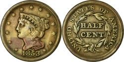 Us Coins - Coin, United States, Braided Hair Half Cent, Half Cent, 1853, U.S. Mint