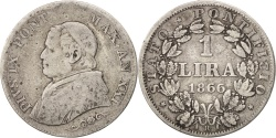 World Coins - ITALIAN STATES, PAPAL STATES, Pius IX, Lira, 1866, Rome, , KM:1377.2