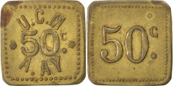 World Coins - France, 50 Centimes, , Brass, Elie #10.3, 2.80