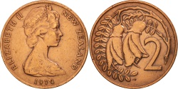 World Coins - New Zealand, Elizabeth II, 2 Cents, 1974, , Bronze, KM:32.1