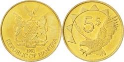 World Coins - NAMIBIA, 5 Dollars, 1993, KM #5, , Brass, 24.9, 6.01