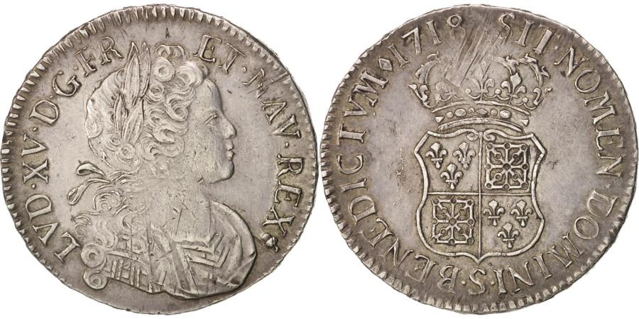 World Coins - France, Louis XV, Écu de France-Navarre, 1718, Reims, , Silver