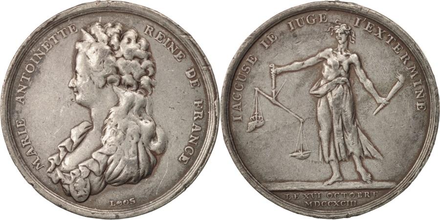 World Coins - France, Token, Royal, Marie-Antoinette, Mort de la Reine par Loos, 1793, Loos