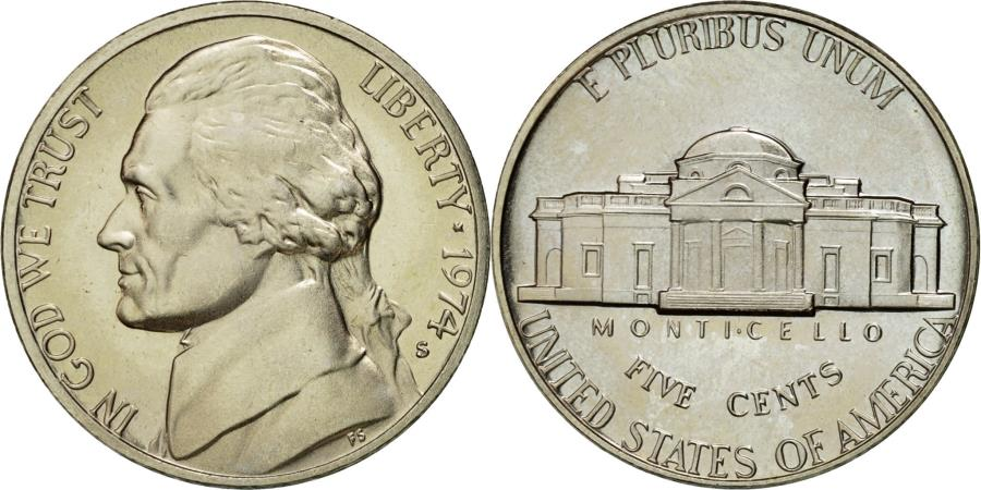 US Coins - Coin, United States, Jefferson Nickel, 5 Cents, 1974, U.S. Mint, San Francisco