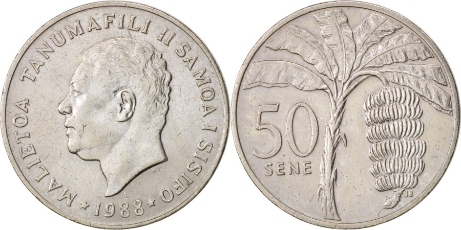 World Coins - Samoa, 50 Sene, 1988, , Copper-nickel, KM:17
