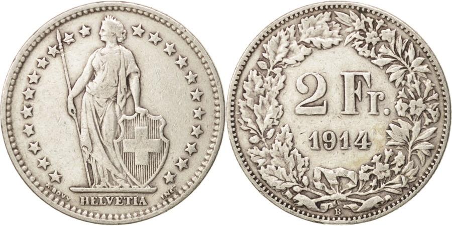 World Coins - Switzerland, 2 Francs, 1914, Bern, , Silver, KM:21