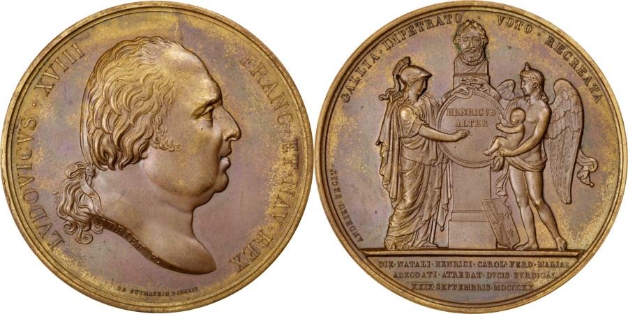 World Coins - FRANCE, Politics, Society, War, Louis XVIII, Medal, 1820, , Andrieu,...