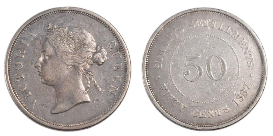 World Coins - STRAITS SETTLEMENTS, 50 Cents, 1887, KM #13, , Silver, 31, 13.00