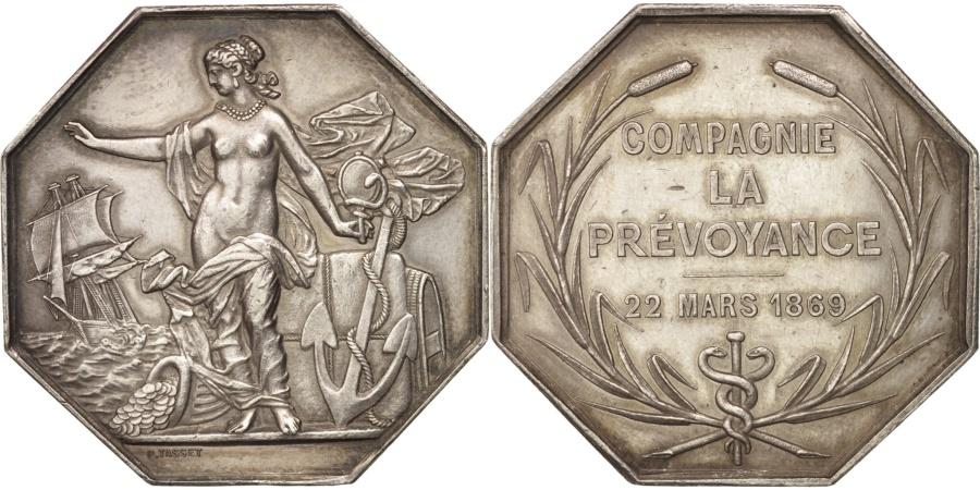 World Coins - France, Insurance, Compagnie La Prévoyance, 1869, Tasset, Token,