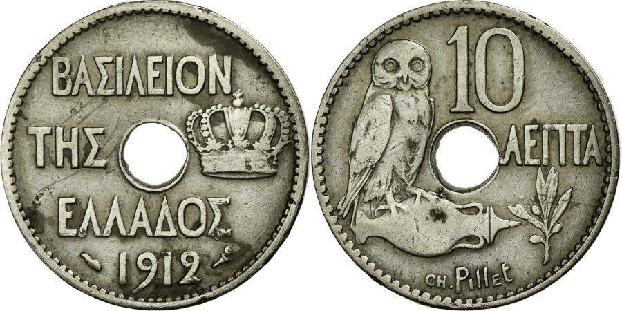 World Coins - Coin, Greece, George I, 10 Lepta, 1912, AU(50-53), Nickel, KM:63