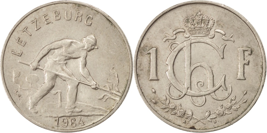 World Coins - LUXEMBOURG, Franc, 1964, KM #46.2, , Copper-Nickel, 21, 4.00