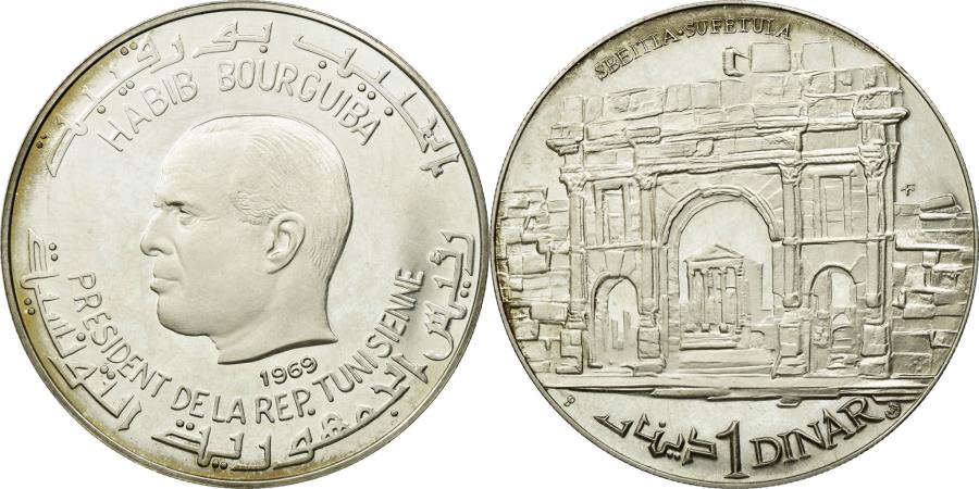 World Coins - Coin, Tunisia, Dinar, 1969, MS(60-62), Silver, KM:301