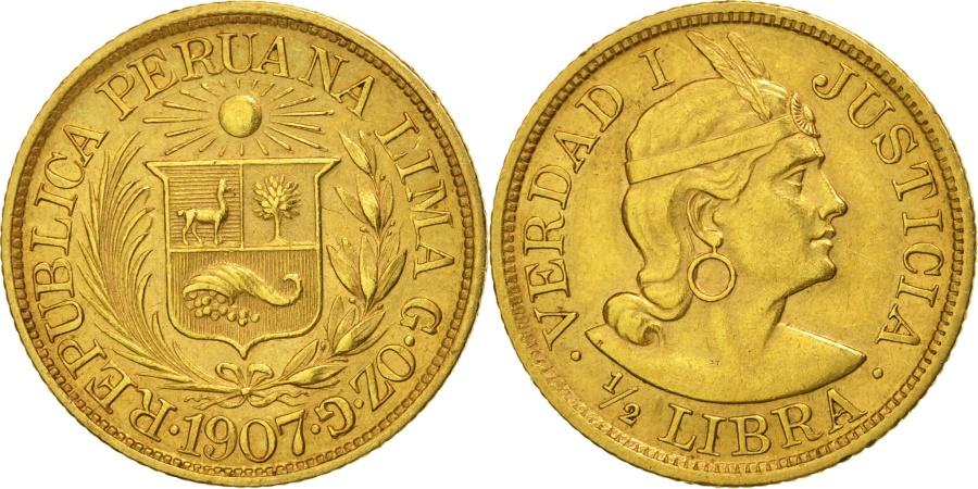 World Coins - Peru, 1/2 Libra, Pound, 1907, Lima, , Gold, KM:209