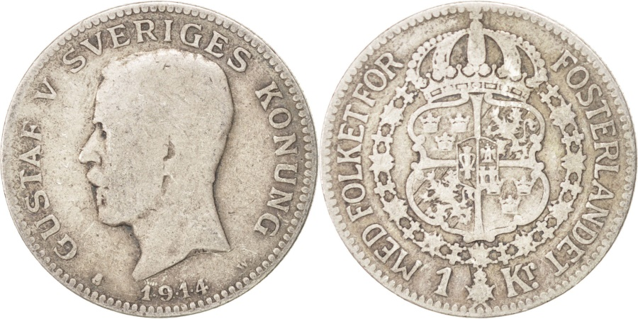 World Coins - SWEDEN, Krona, 1914, KM #786.1, , Silver, 25, 7.32