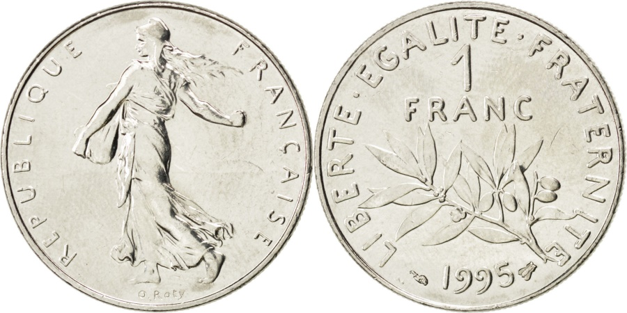 World Coins - FRANCE, Semeuse, Franc, 1995, Paris, KM #925.1, , Nickel, 24, Gadoury...
